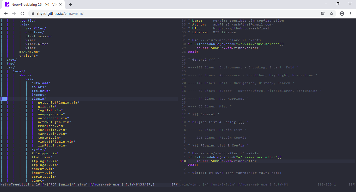vim.wasm on chrome